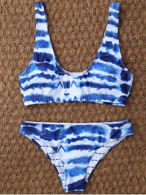 T corbata teñido Set Bikini - Azul y Blanco S