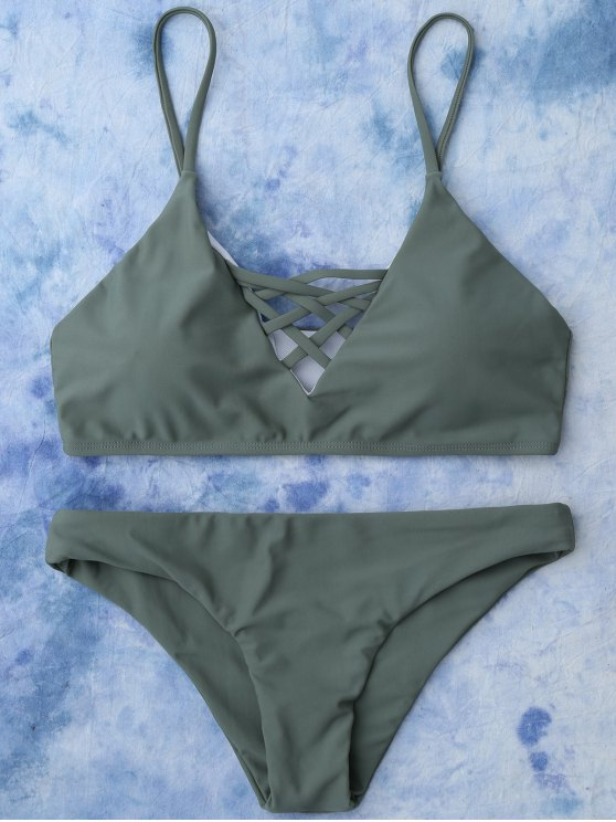 الدانتيل يصل بيكيني ملابس السباحة - الجيش الأخضر L