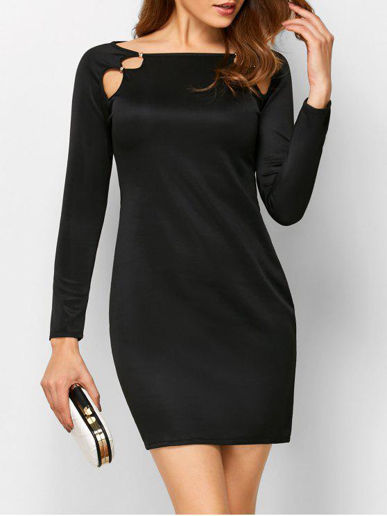 Vestido Entubado Cuello Ancho Ahuecado Manga Larga - Negro XL