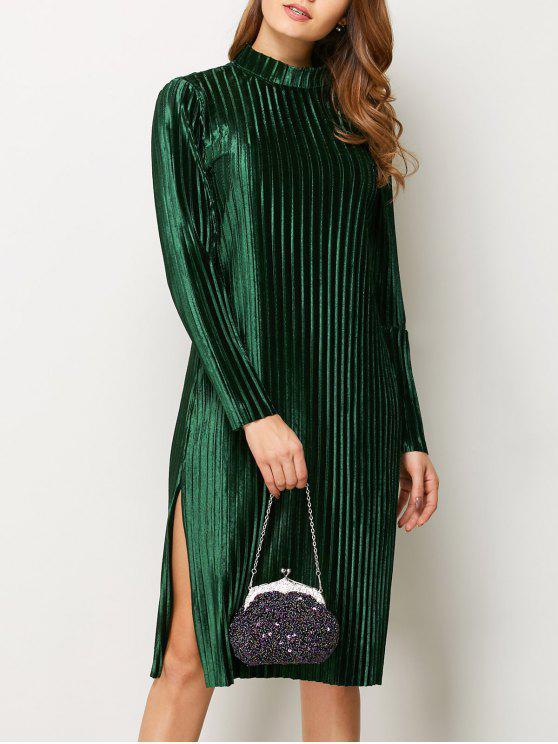 women's Long Sleeve Pleated Pleuche Party Knee Length Dress - GREEN S