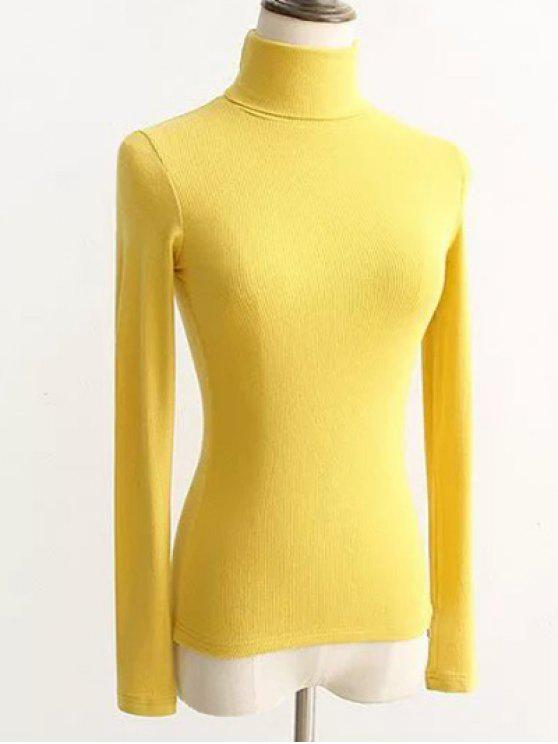 3bac1f75cc1 fashion Turtleneck Ribbed Tight Sweater - YELLOW ONE SIZE