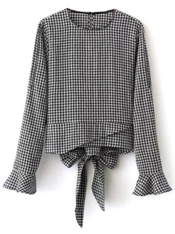 shops Flared Cuffs Gingham Check Blouse - WHITE AND BLACK M