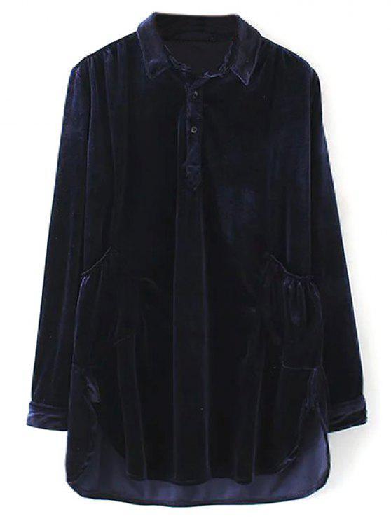 online Mini Velvet Tunic Dress - PURPLISH BLUE M