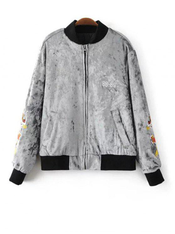 lady Velvet Embroidered Padded Jacket - LIGHT GRAY S