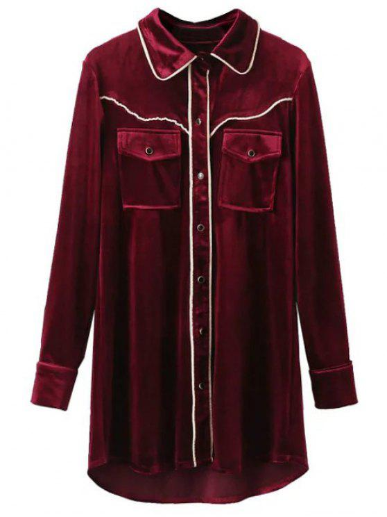 latest Contrast Piped Velvet Shirt Dress - BURGUNDY S