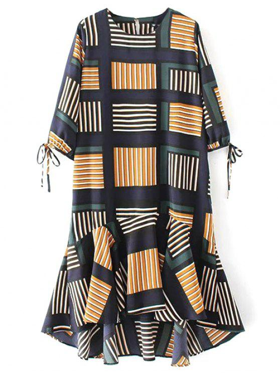 shops Plaid High Low Ruffles Midi Dress With Sleeves - COLORMIX S