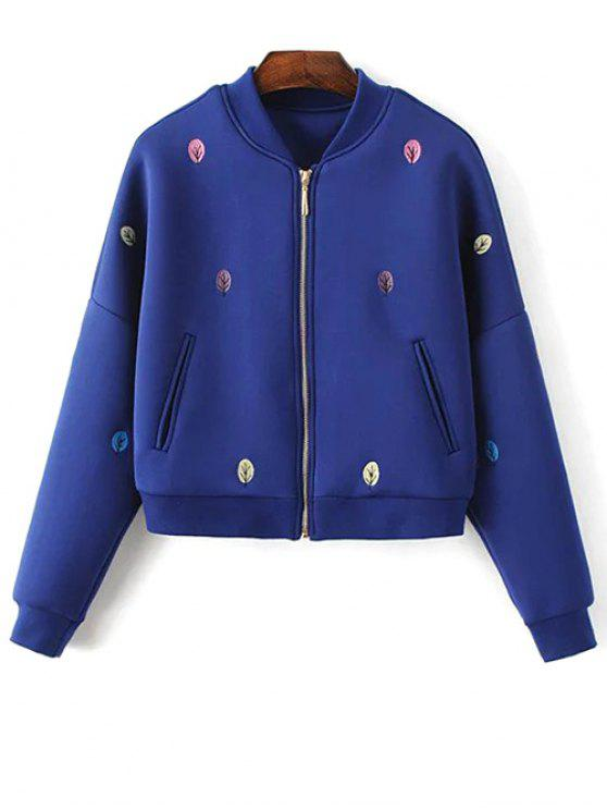online Tree Embroidered Space Cotton Jacket - BLUE S