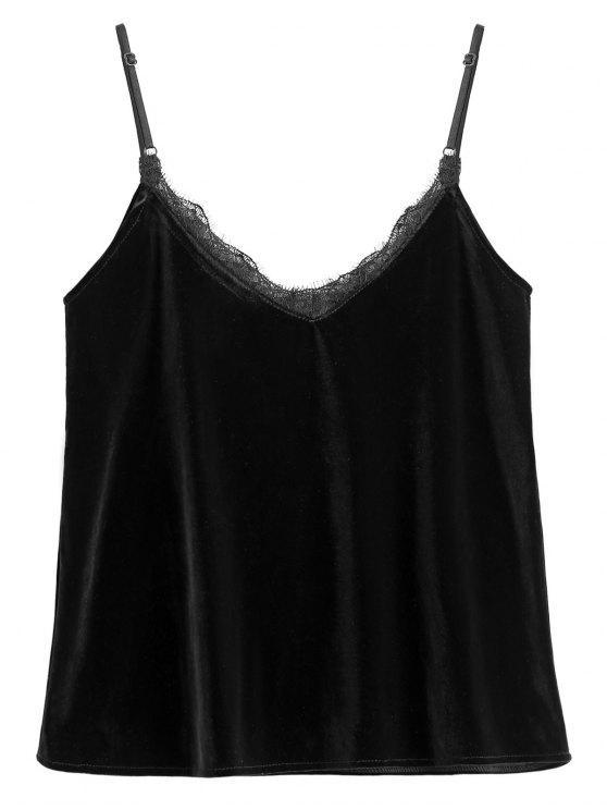 hot Eyelash Lace Velvet Camisole Top - BLACK L