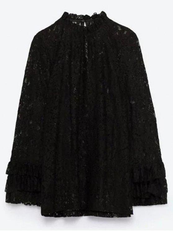 Ruff cuello de encaje en capas de la blusa - Negro S