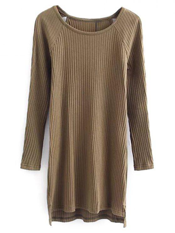 trendy Cutout Ribbed Knitwear Dress - KHAKI S
