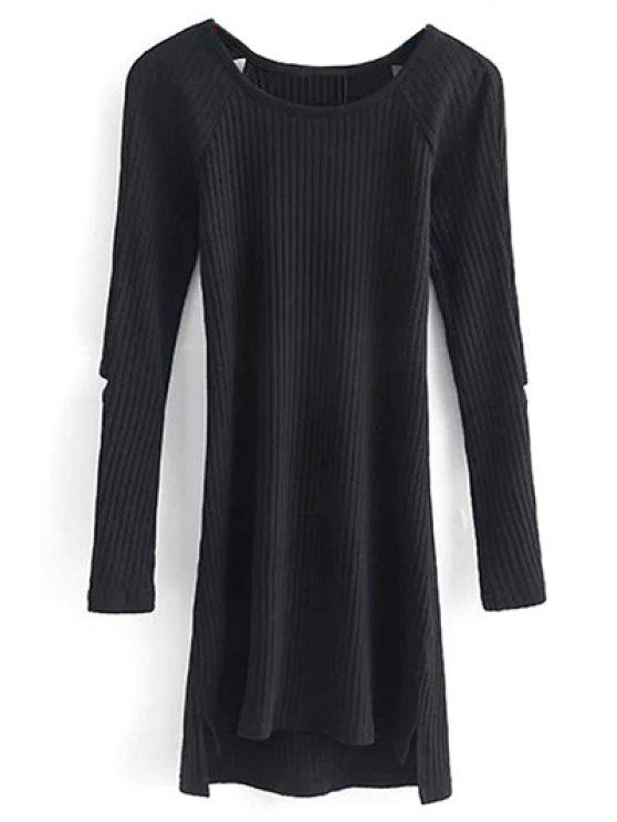 chic Cutout Ribbed Knitwear Dress - BLACK S