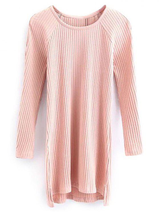 unique Cutout Ribbed Knitwear Dress - PINK S
