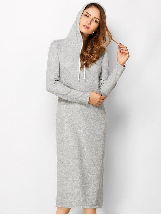 chic Long Sleeve Hooded Straight Dress - LIGHT GRAY M