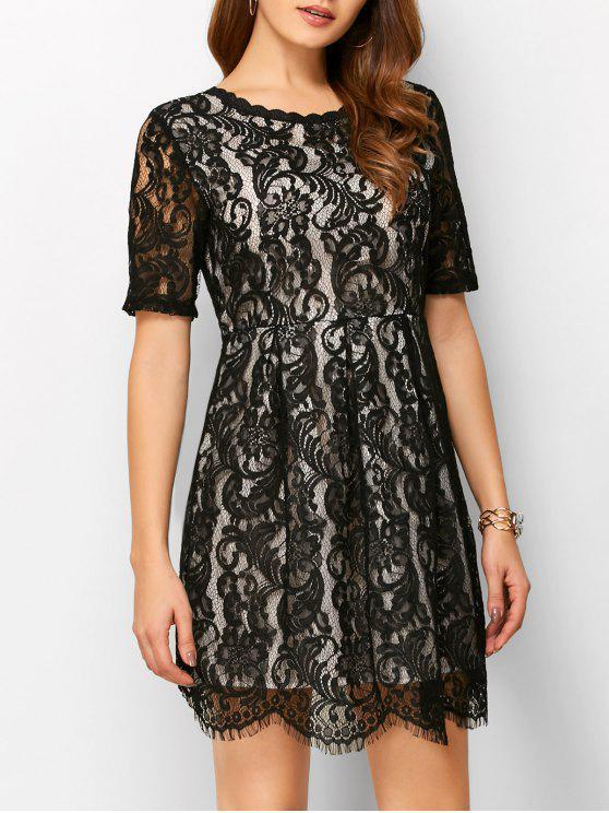 Vestido Espalda En V Línea Vertical Encaje - Negro XL