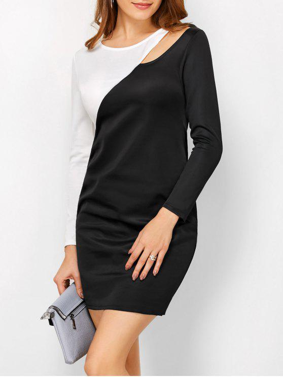 Vestido de bainha de corte de bloco de cor - Branco e Preto S