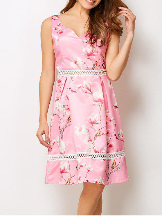 Vestido Cuello En V Diseño Floral Hueco - Rosa S