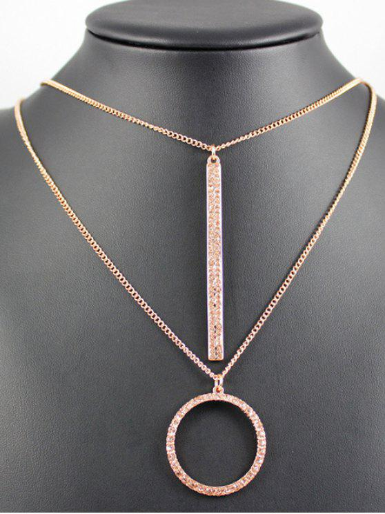online Layered Ring Bar Necklace - ROSE GOLD
