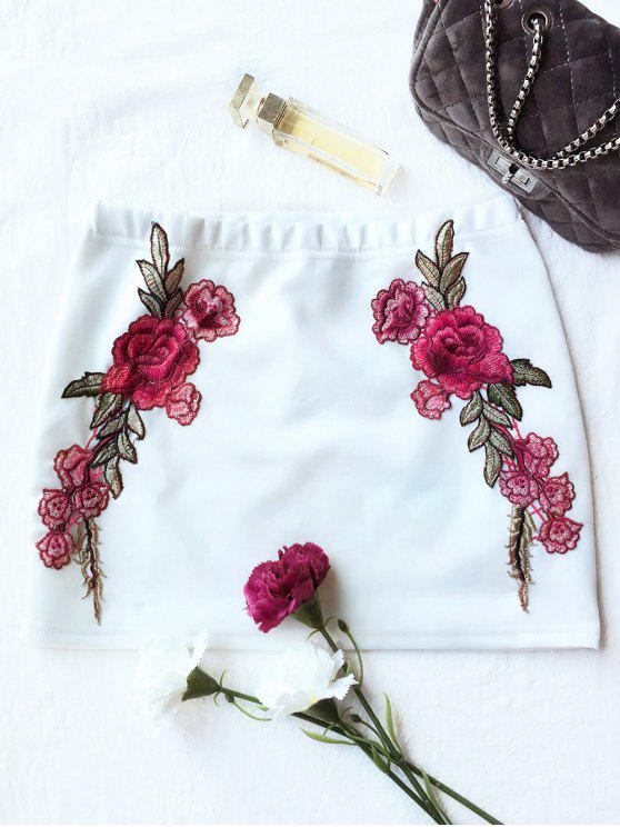 Rose mini falda bodycon - Blanco S
