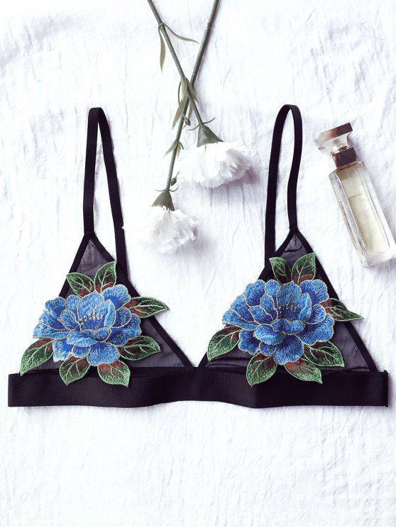 unique Floral Applique Mesh Plunge Bra - BLACK 80C