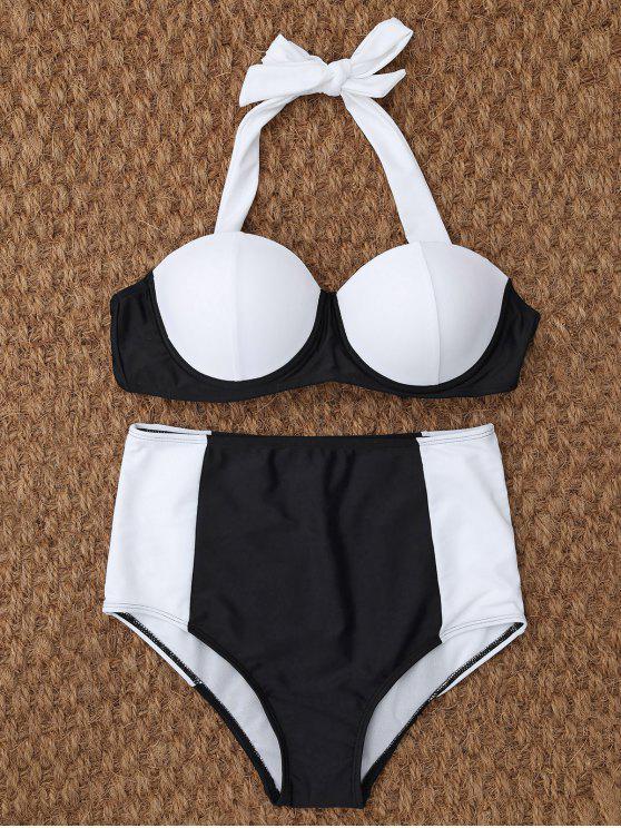 Underwire del bikini de talle alto - Blanco y Negro M