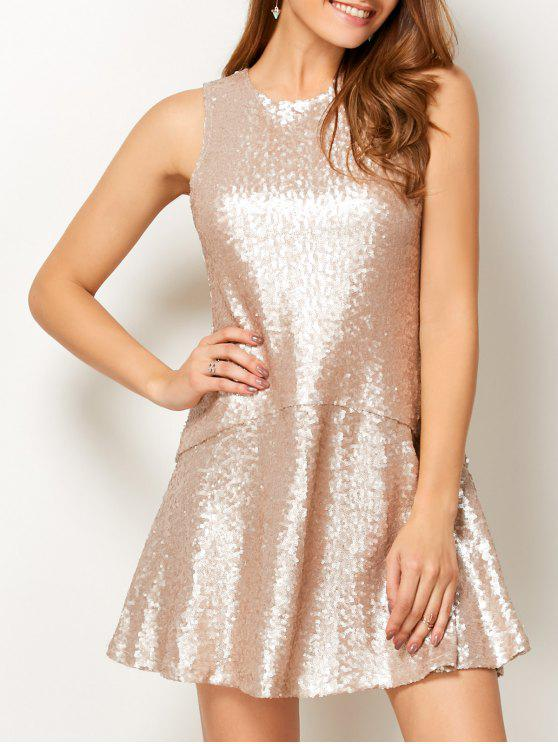 latest Sequined Cut Out Jewel Neck Dress - BEIGE S