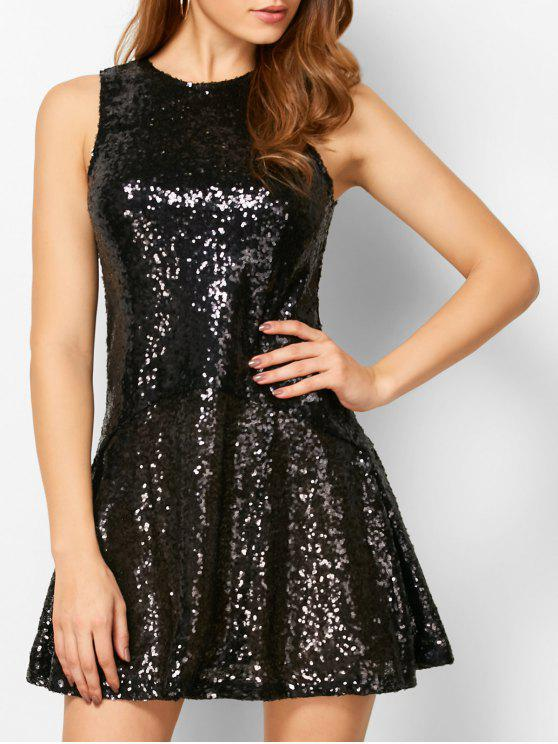 sale Sequined Cut Out Jewel Neck Dress - BLACK S