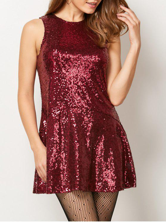 lady Sequined Cut Out Jewel Neck Dress - BURGUNDY XS