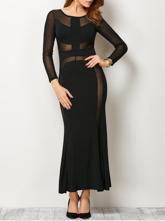 انظر من خلال شبكة لوحة ضمادة فستان ماكسي - أسود M