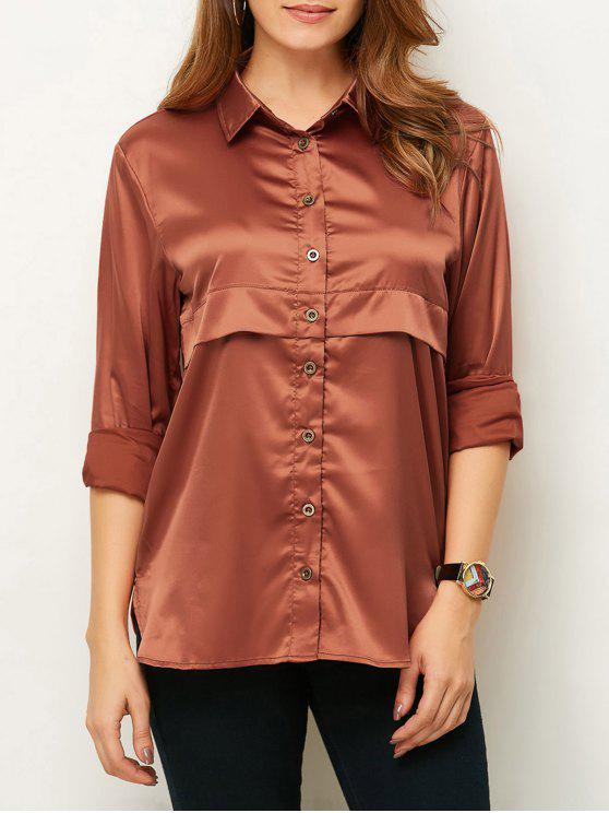 fancy Long Sleeve Loose Shirt - BROWN S