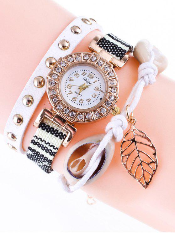 outfits Braided Rhinestone Strand Bracelet Watch - WHITE