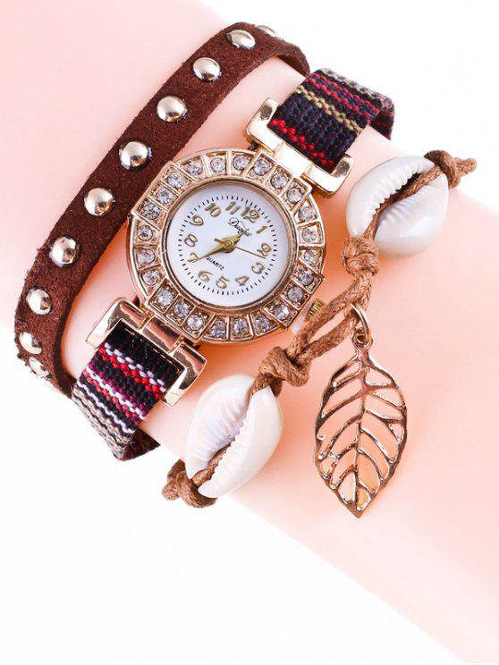 latest Braided Rhinestone Strand Bracelet Watch - BROWN