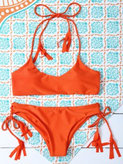 Tasselled Halter Bikini Set - Orange S