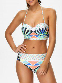 Geometric Lace-Up Bikini Set - M
