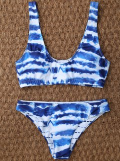 U Neck Tie Dyed Cute Bathing Suit - Blue And White L