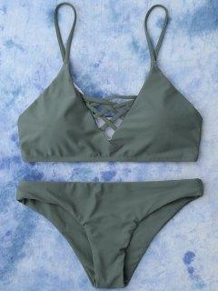 Lace Up Bikini Maillots De Bain - Vert Armée M