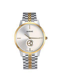 Stainless Steel Gear Quartz Watch - Silver And Golden