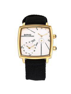 Roman Numerals Geometric Vintage Quartz Watch - Golden