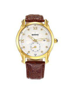 Faux Leather Vintage Roman Numerals Watch - Brown