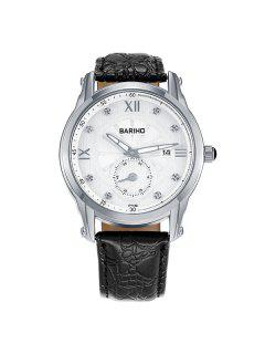 Vintage Faux Leather Roman Numerals Watch - Silver