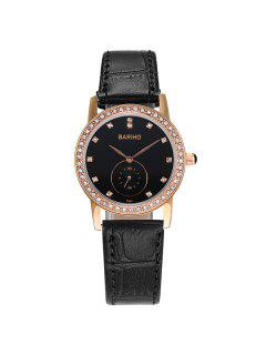 Montre Vintage En PU Cuir Strass  - Or Rose