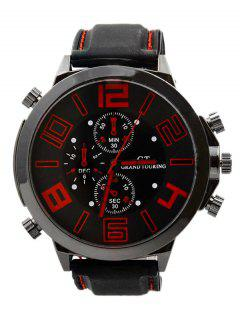 Outdoor Rubber Analog Number Watch - Red