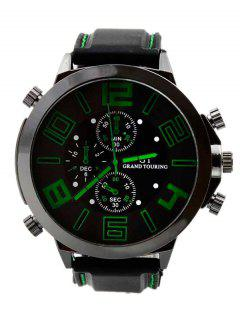 Outdoor Rubber Analog Number Watch - Green