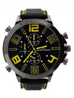 Outdoor Rubber Analog Number Watch - Yellow