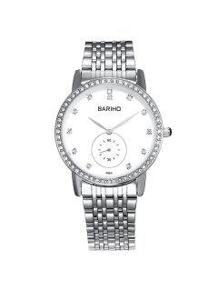 Stainless Steel Rhinestone Business Quartz Watch - Silver