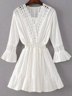 Shirred Lacework Dress - White S