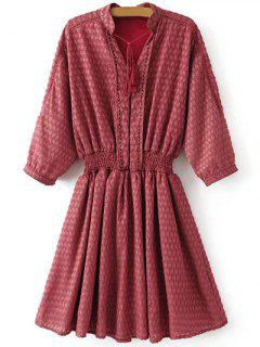 Robe Plissée Ciselée à Col V - Rouge S