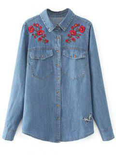 Embroidered Yoke Denim Shirt With Pockets - Denim Blue M