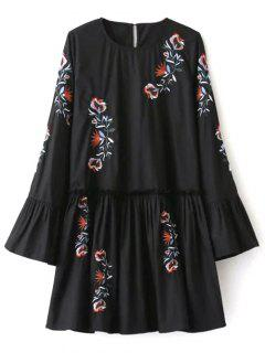 Long Bell Sleeve Embroidered Dress - Black S