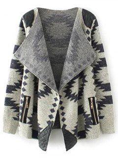 Contrast PU Leather Geometric Cardigan - Khaki M