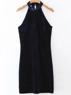 Halter Velvet Bodycon Dress - Purplish Blue L
